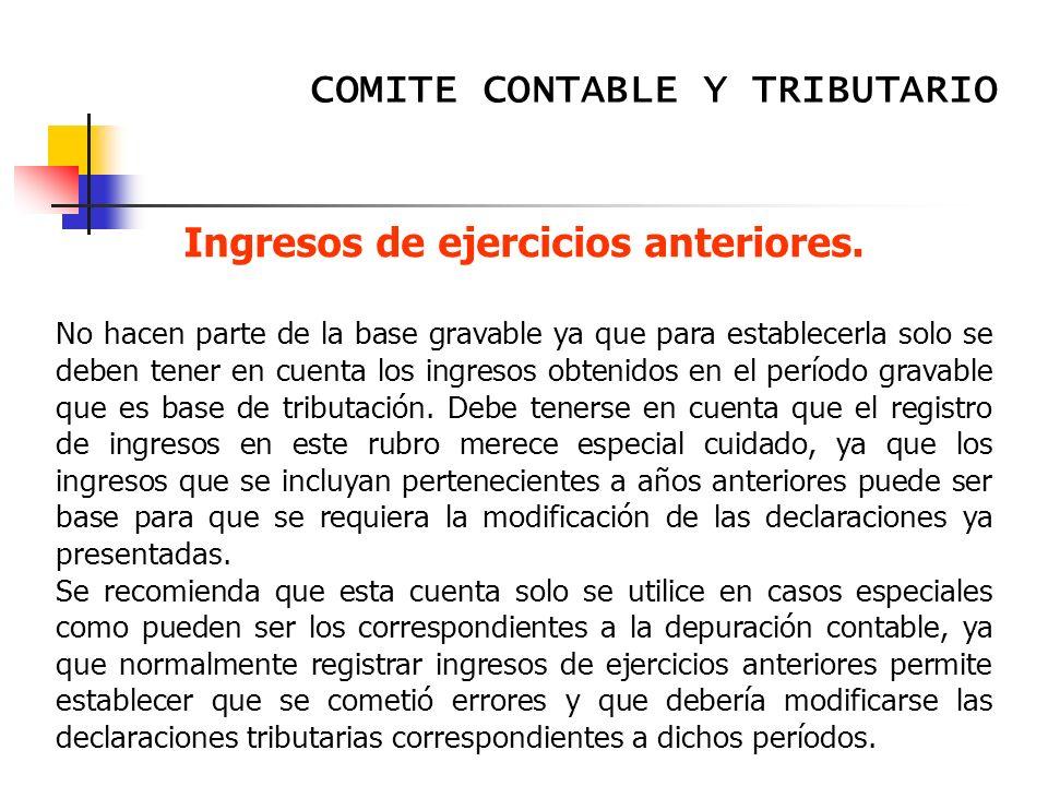 Ingresos de ejercicios anteriores.