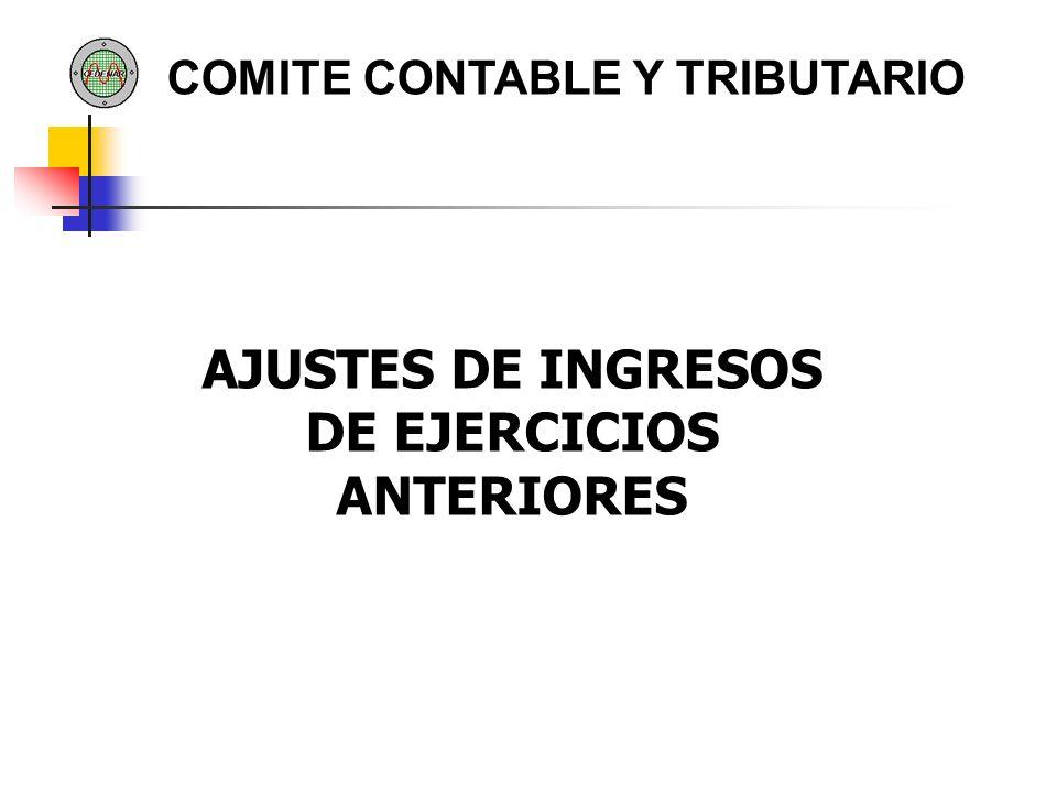 AJUSTES DE INGRESOS DE EJERCICIOS ANTERIORES