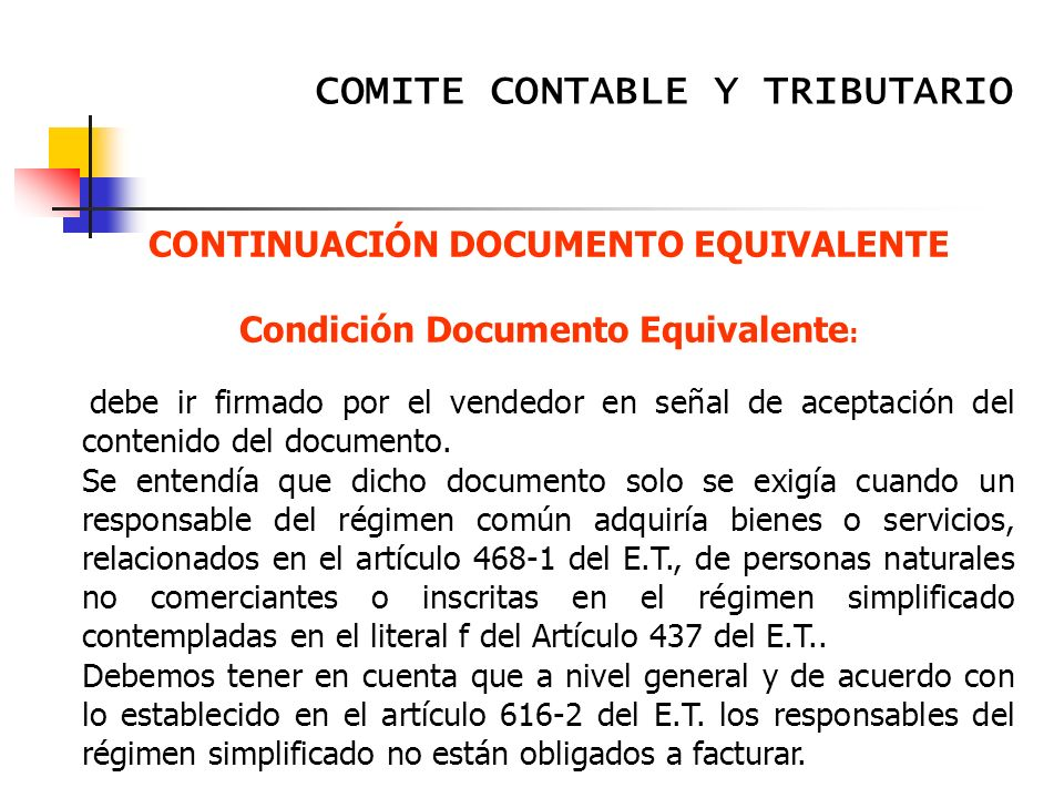 CONTINUACIÓN DOCUMENTO EQUIVALENTE Condición Documento Equivalente: