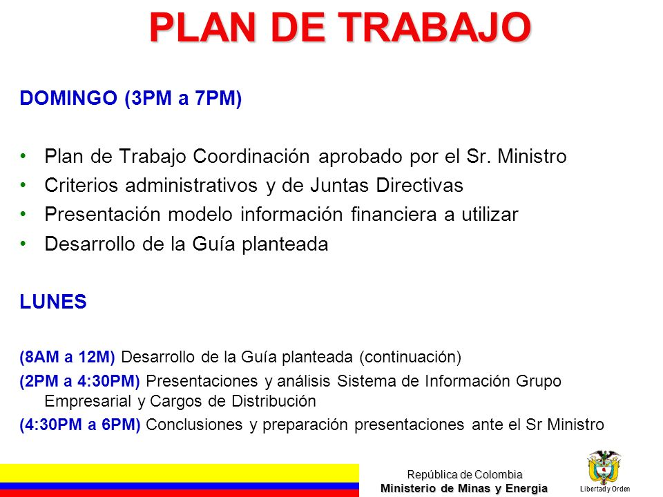 PLAN DE TRABAJO DOMINGO (3PM a 7PM)