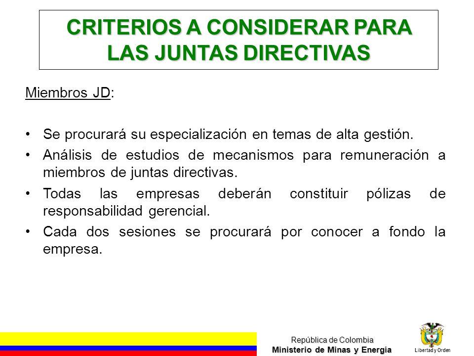 CRITERIOS A CONSIDERAR PARA LAS JUNTAS DIRECTIVAS
