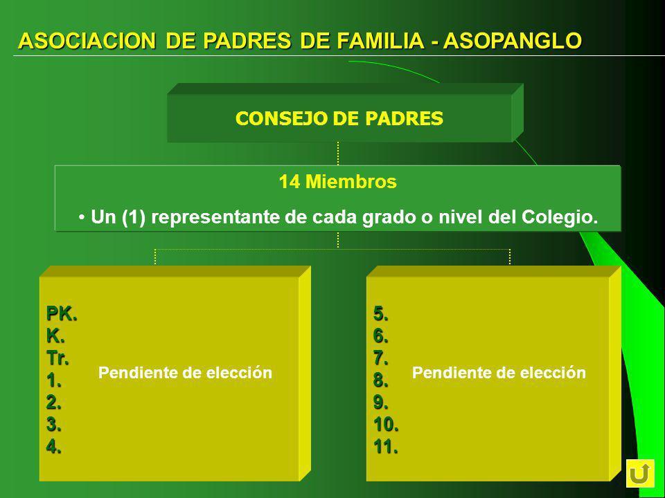Un (1) representante de cada grado o nivel del Colegio.