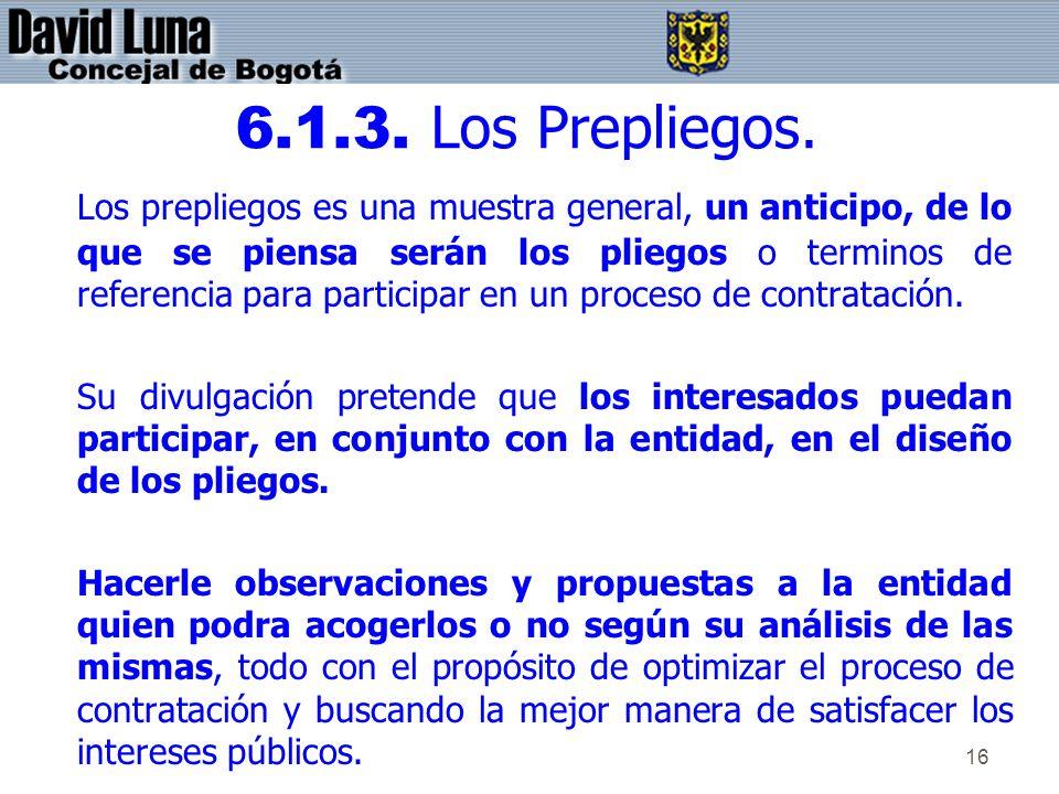 6.1.3. Los Prepliegos.