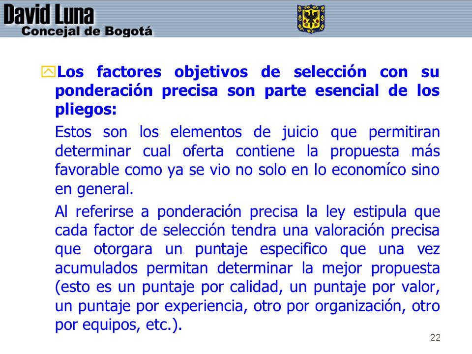 Los factores objetivos de selección con su ponderación precisa son parte esencial de los pliegos:
