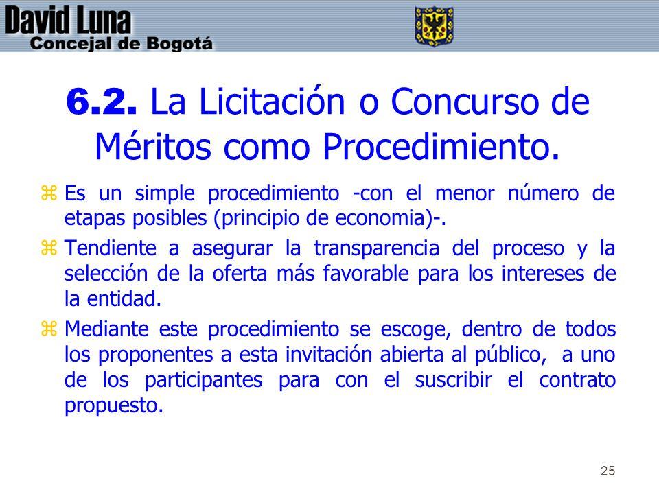 6.2. La Licitación o Concurso de Méritos como Procedimiento.