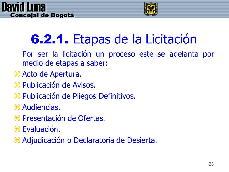 6.2.1. Etapas de la Licitación