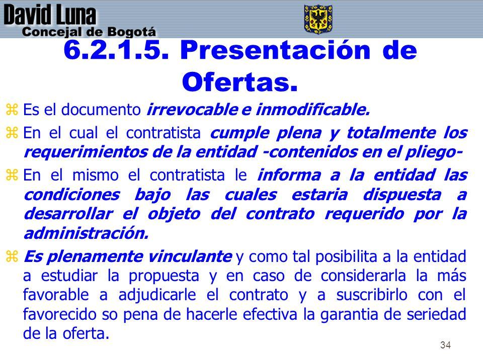 6.2.1.5. Presentación de Ofertas.