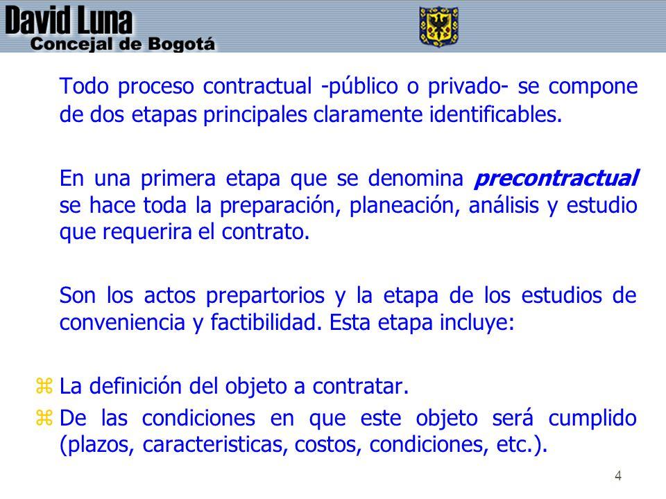 Todo proceso contractual -público o privado- se compone de dos etapas principales claramente identificables.