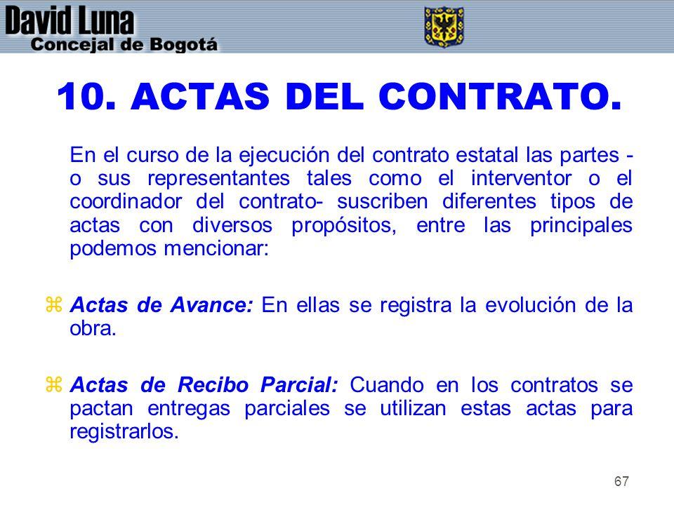 10. ACTAS DEL CONTRATO.