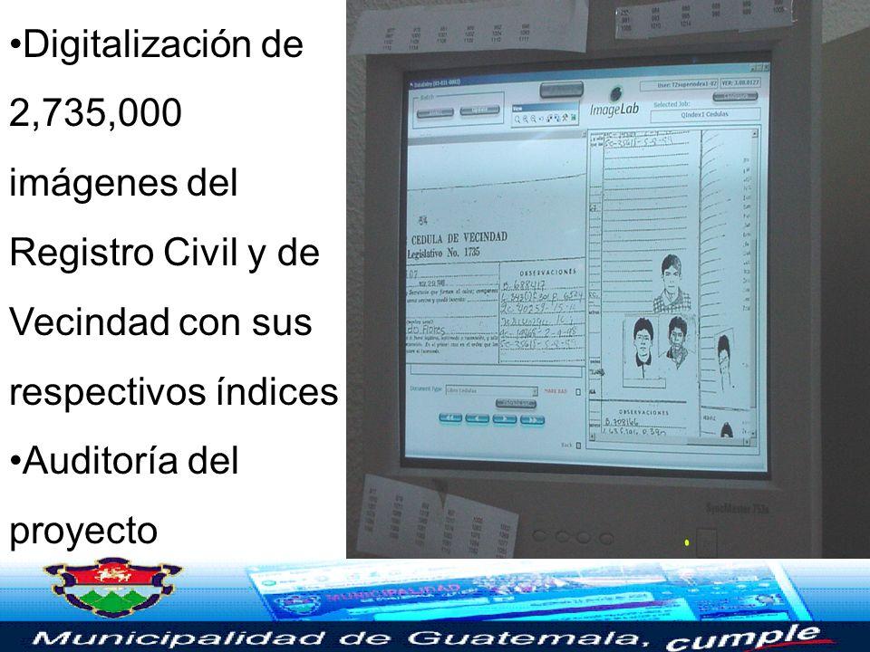 Digitalización de 2,735,000 imágenes del Registro Civil y de Vecindad con sus respectivos índices