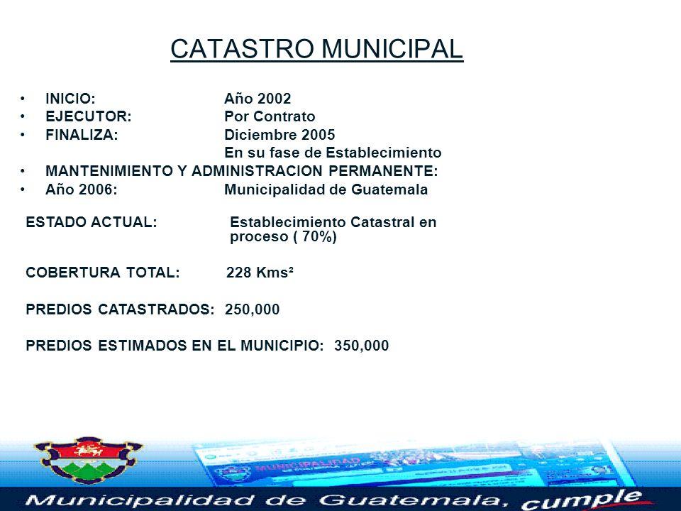 CATASTRO MUNICIPAL INICIO: Año 2002 EJECUTOR: Por Contrato