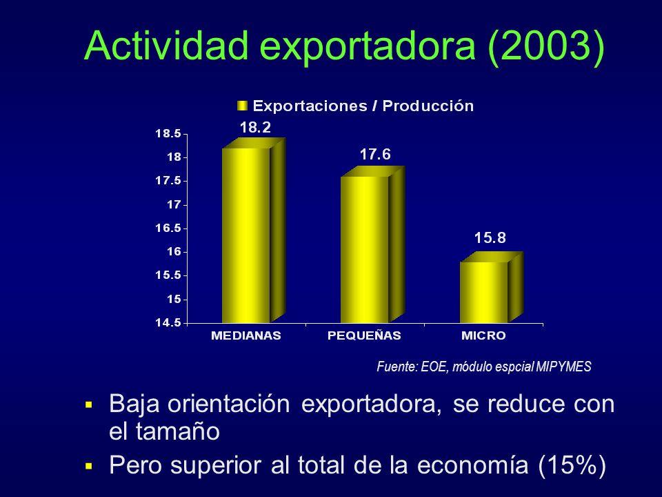 Actividad exportadora (2003)
