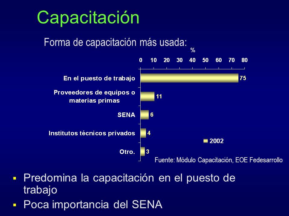 Capacitación Forma de capacitación más usada: