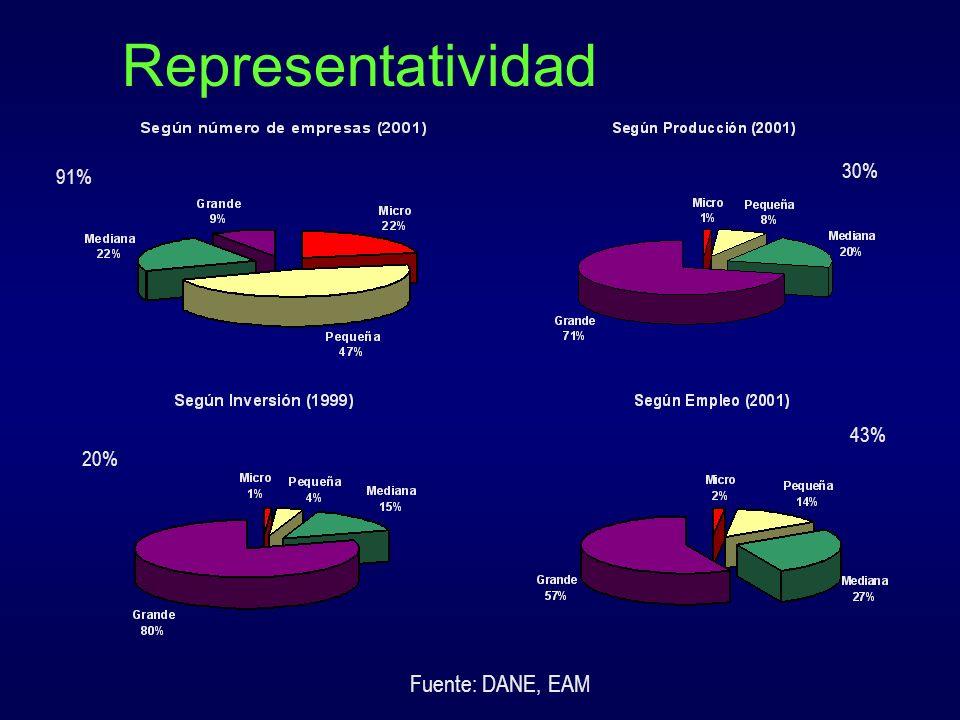Representatividad 30% 91% 43% 20% Fuente: DANE, EAM