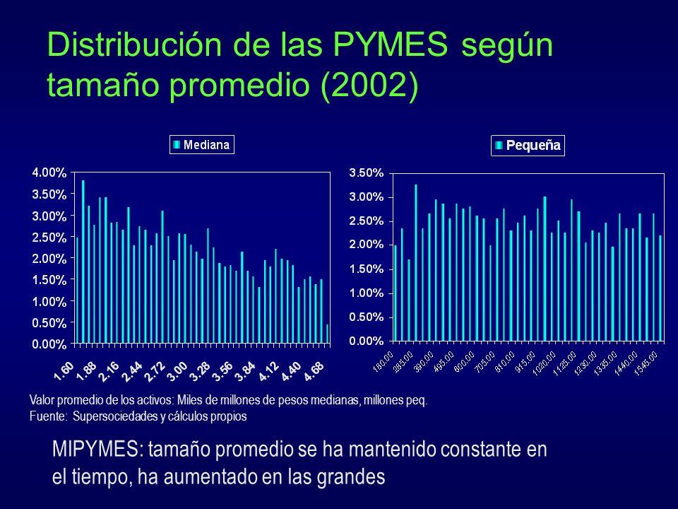 Distribución de las PYMES según tamaño promedio (2002)
