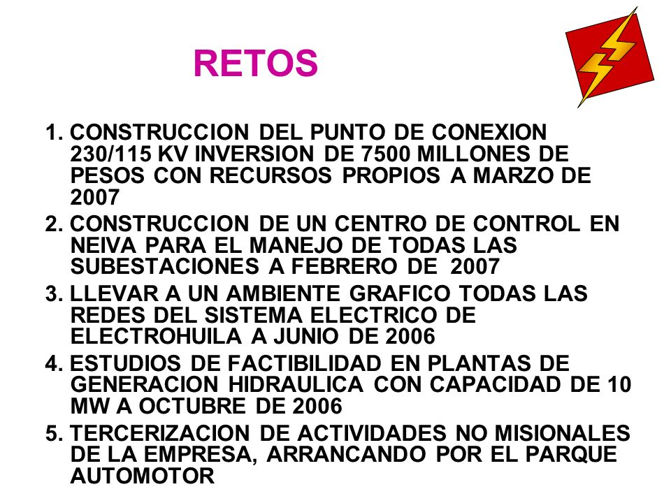 RETOS 1. CONSTRUCCION DEL PUNTO DE CONEXION 230/115 KV INVERSION DE 7500 MILLONES DE PESOS CON RECURSOS PROPIOS A MARZO DE 2007.