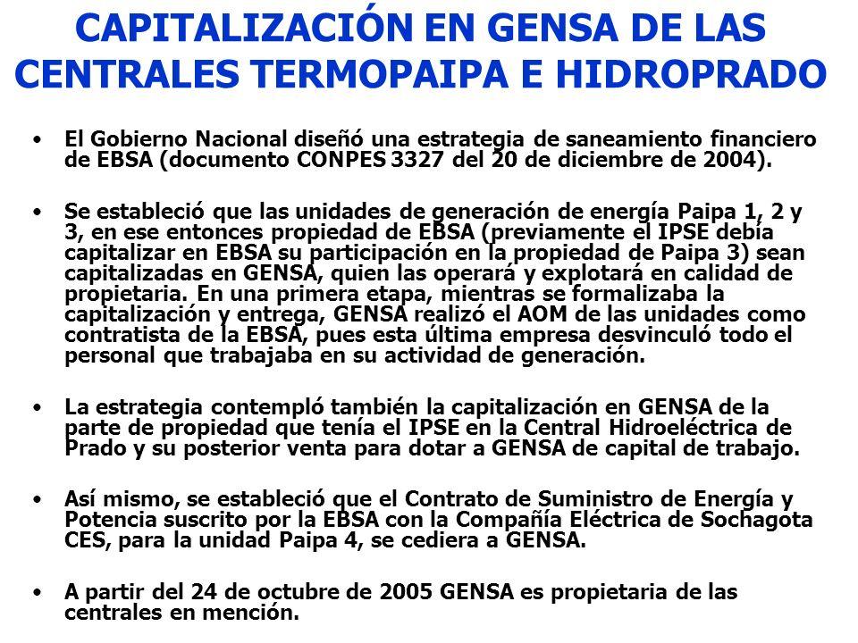CAPITALIZACIÓN EN GENSA DE LAS CENTRALES TERMOPAIPA E HIDROPRADO