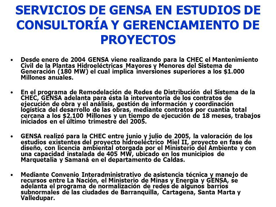SERVICIOS DE GENSA EN ESTUDIOS DE CONSULTORÍA Y GERENCIAMIENTO DE PROYECTOS