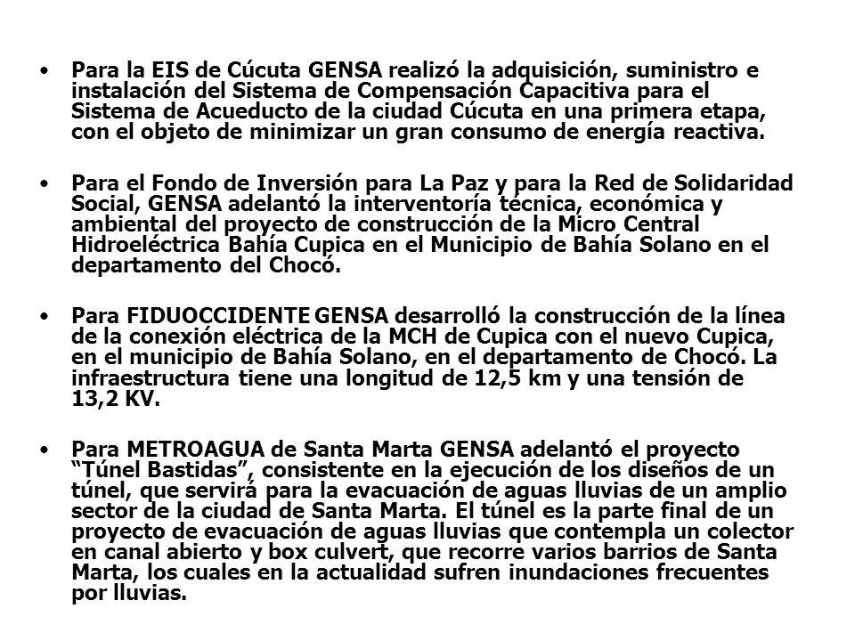 Para la EIS de Cúcuta GENSA realizó la adquisición, suministro e instalación del Sistema de Compensación Capacitiva para el Sistema de Acueducto de la ciudad Cúcuta en una primera etapa, con el objeto de minimizar un gran consumo de energía reactiva.