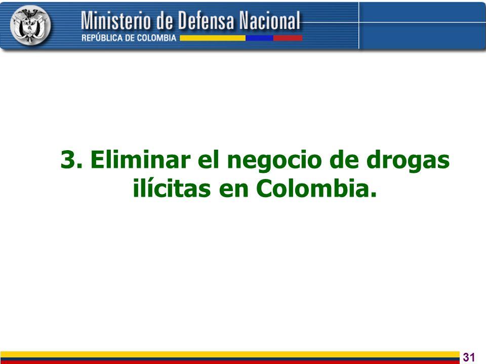 3. Eliminar el negocio de drogas ilícitas en Colombia.