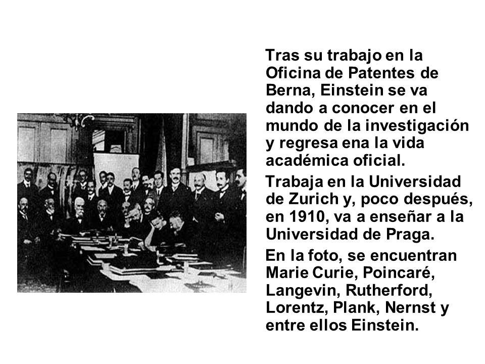 Tras su trabajo en la Oficina de Patentes de Berna, Einstein se va dando a conocer en el mundo de la investigación y regresa ena la vida académica oficial.