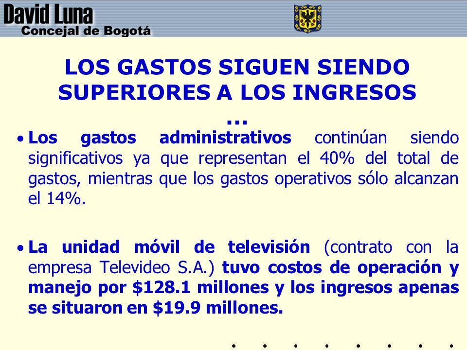 LOS GASTOS SIGUEN SIENDO SUPERIORES A LOS INGRESOS ...