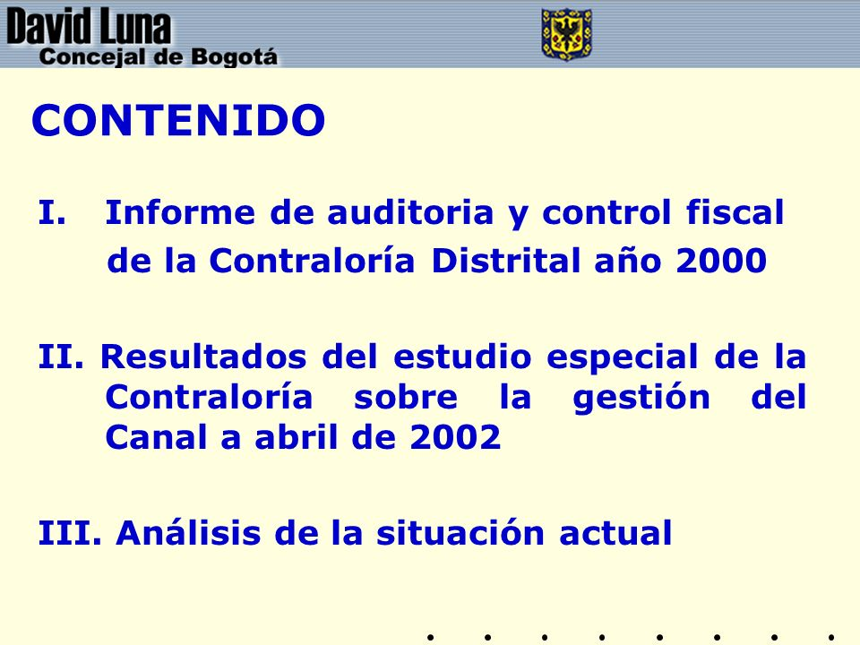 CONTENIDO Informe de auditoria y control fiscal