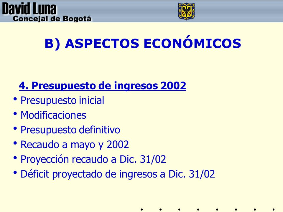 B) ASPECTOS ECONÓMICOS