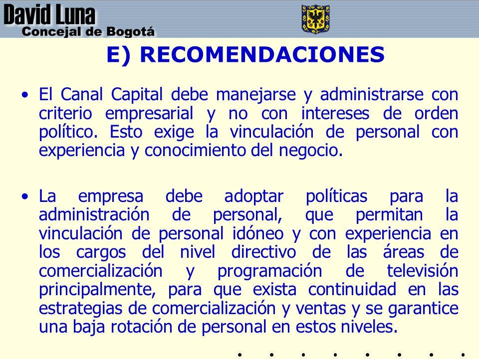 E) RECOMENDACIONES