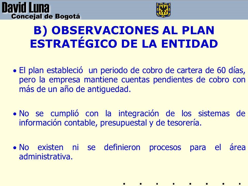 B) OBSERVACIONES AL PLAN ESTRATÉGICO DE LA ENTIDAD