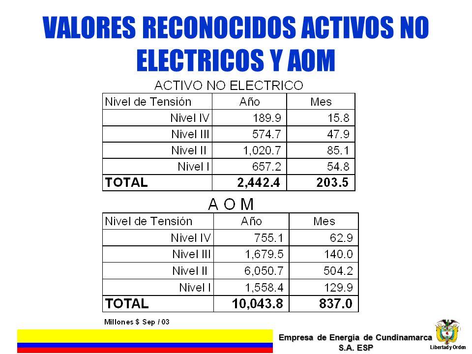 VALORES RECONOCIDOS ACTIVOS NO ELECTRICOS Y AOM