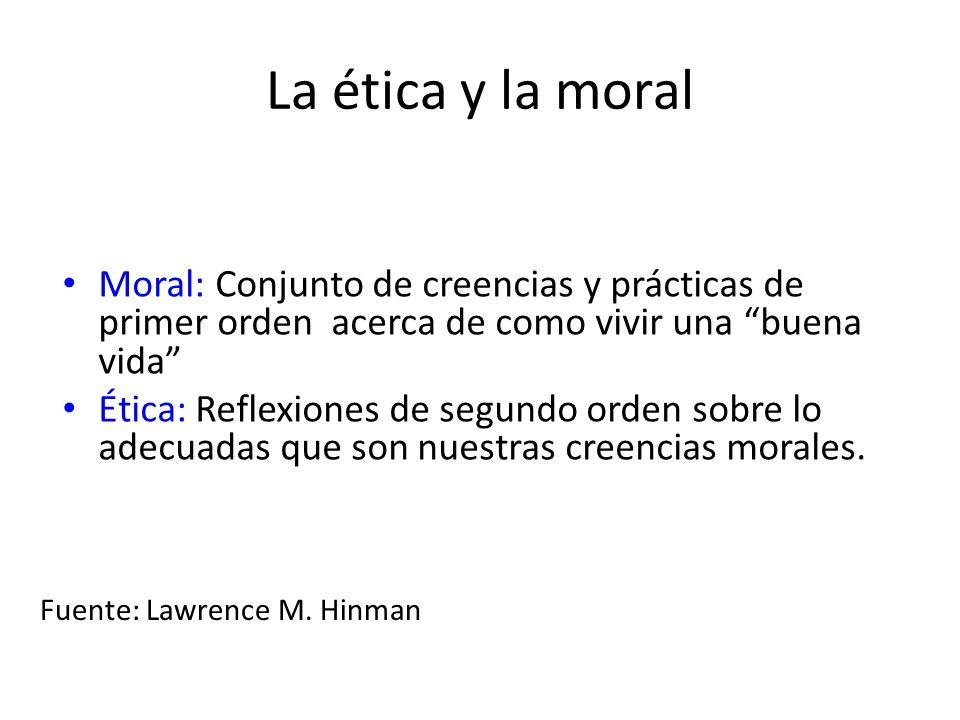 La ética y la moral Moral: Conjunto de creencias y prácticas de primer orden acerca de como vivir una buena vida