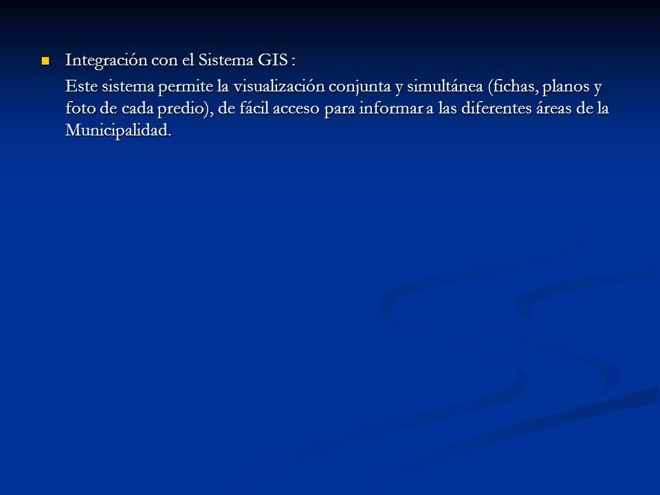Integración con el Sistema GIS :