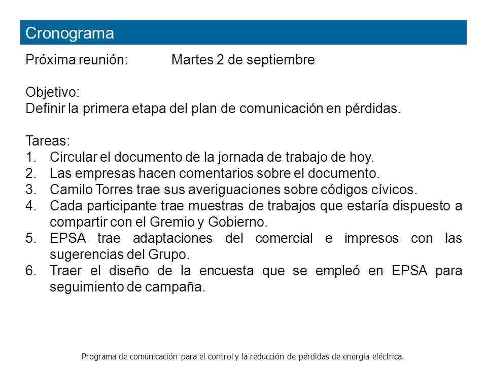 Cronograma Próxima reunión: Martes 2 de septiembre Objetivo: