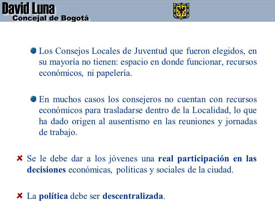 Los Consejos Locales de Juventud que fueron elegidos, en su mayoría no tienen: espacio en donde funcionar, recursos económicos, ni papelería.
