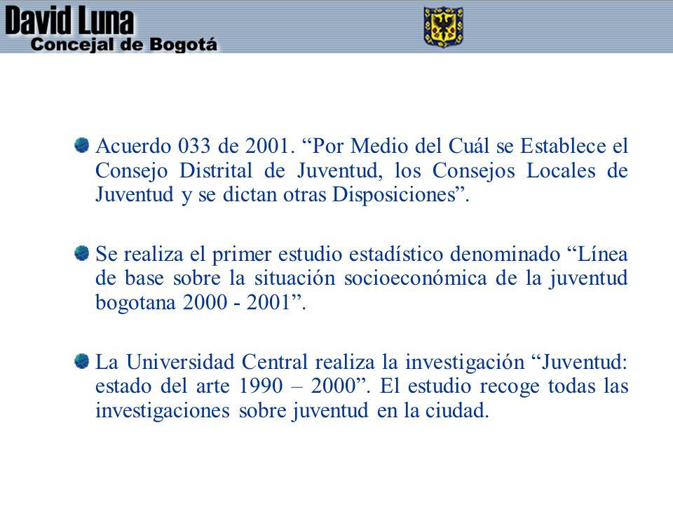Acuerdo 033 de 2001. Por Medio del Cuál se Establece el Consejo Distrital de Juventud, los Consejos Locales de Juventud y se dictan otras Disposiciones .