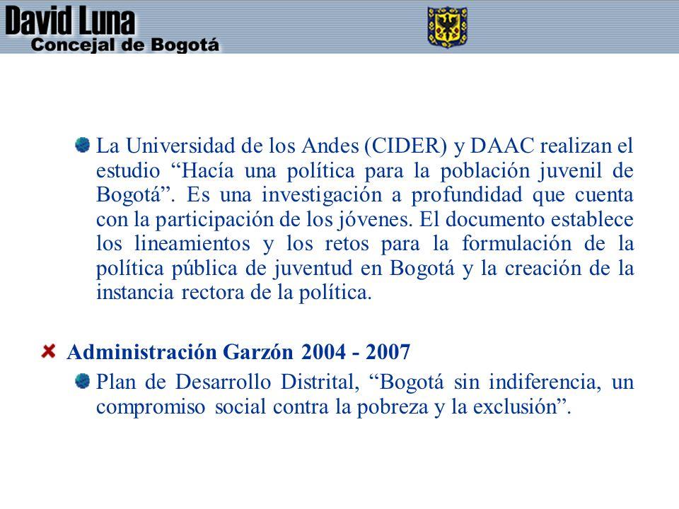 La Universidad de los Andes (CIDER) y DAAC realizan el estudio Hacía una política para la población juvenil de Bogotá . Es una investigación a profundidad que cuenta con la participación de los jóvenes. El documento establece los lineamientos y los retos para la formulación de la política pública de juventud en Bogotá y la creación de la instancia rectora de la política.