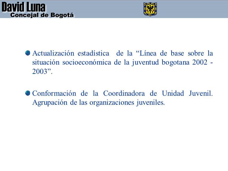 Actualización estadística de la Línea de base sobre la situación socioeconómica de la juventud bogotana 2002 -2003 .