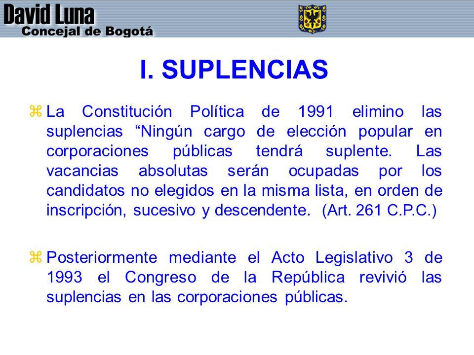 I. SUPLENCIAS