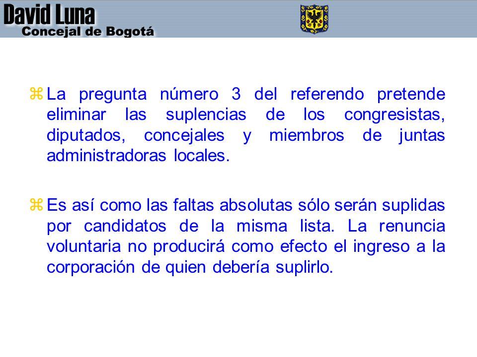 La pregunta número 3 del referendo pretende eliminar las suplencias de los congresistas, diputados, concejales y miembros de juntas administradoras locales.