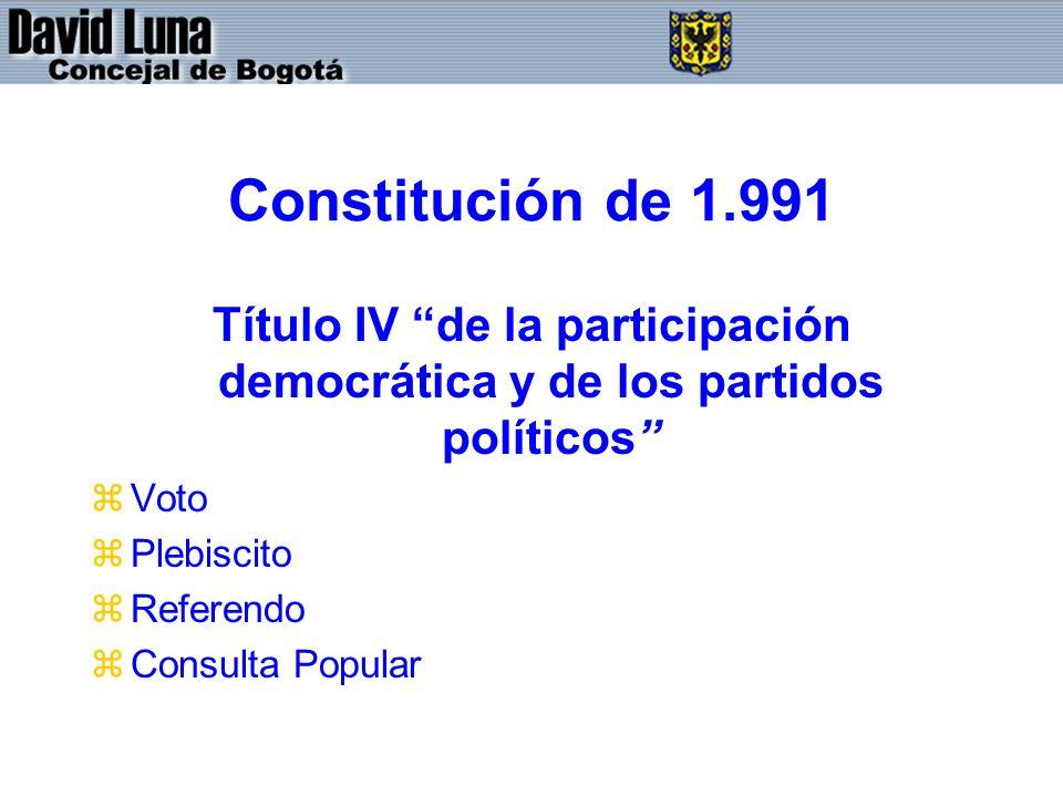 Constitución de 1.991 Título IV de la participación democrática y de los partidos políticos Voto.