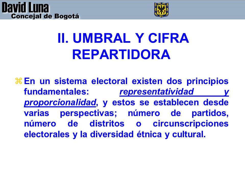 II. UMBRAL Y CIFRA REPARTIDORA