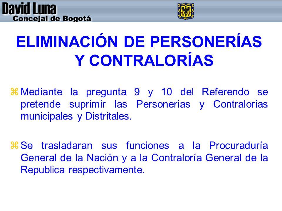 ELIMINACIÓN DE PERSONERÍAS Y CONTRALORÍAS