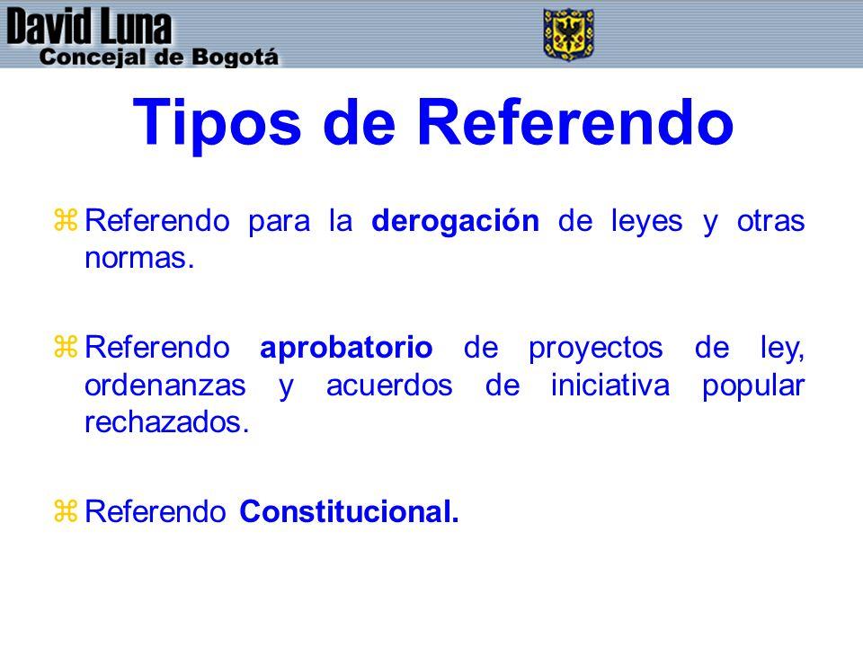 Tipos de Referendo Referendo para la derogación de leyes y otras normas.