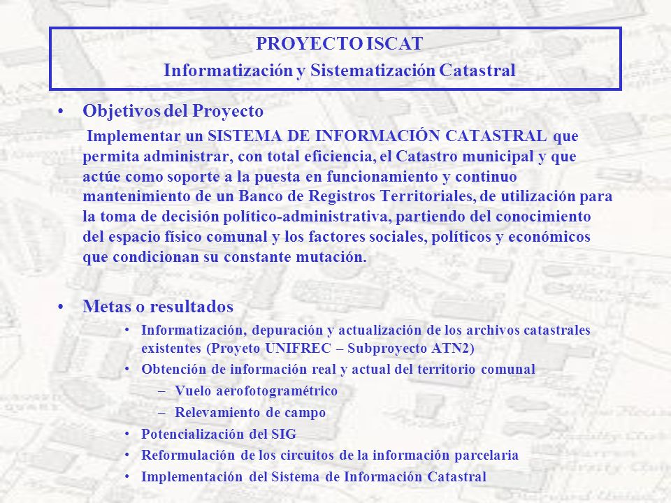 Informatización y Sistematización Catastral