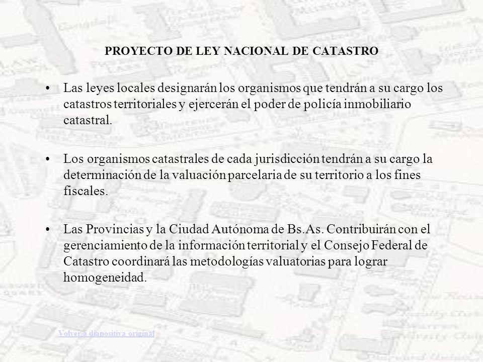 PROYECTO DE LEY NACIONAL DE CATASTRO