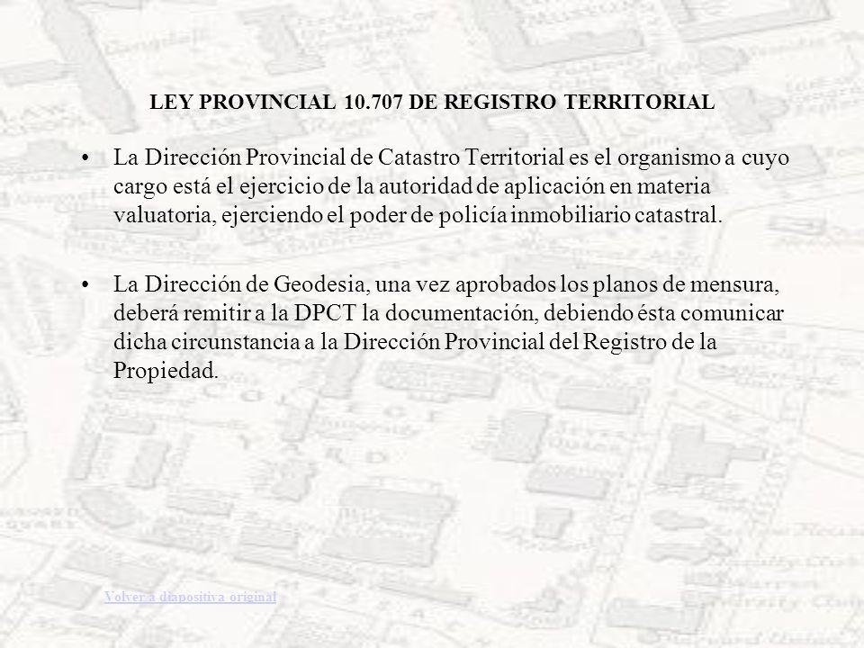 LEY PROVINCIAL 10.707 DE REGISTRO TERRITORIAL