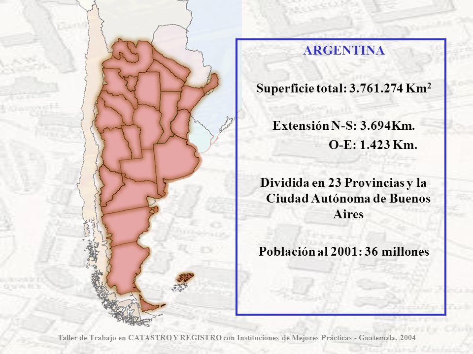Dividida en 23 Provincias y la Ciudad Autónoma de Buenos Aires