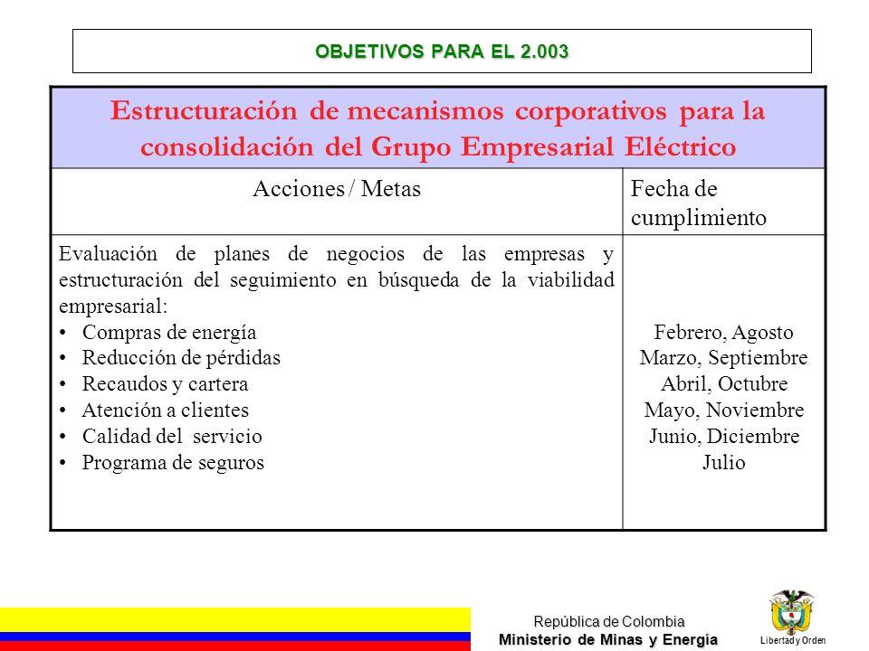 OBJETIVOS PARA EL 2.003 Estructuración de mecanismos corporativos para la consolidación del Grupo Empresarial Eléctrico.