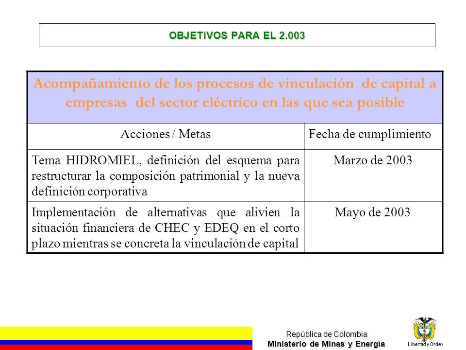OBJETIVOS PARA EL 2.003 Acompañamiento de los procesos de vinculación de capital a empresas del sector eléctrico en las que sea posible.